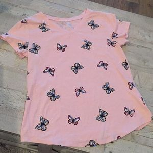 Justice Shirts & Tops - Light coral/pink t-shirt with butterflies 🦋